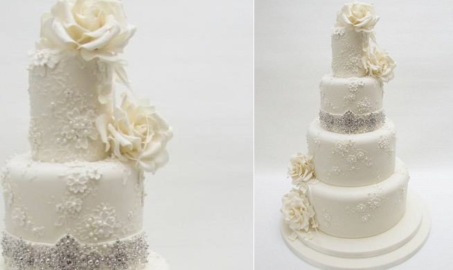beaded wedding cake by Emma Jayne Cake Design
