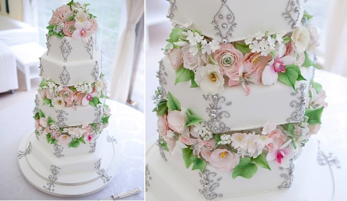 beaded wedding cake design by Bite Me Bakery UK