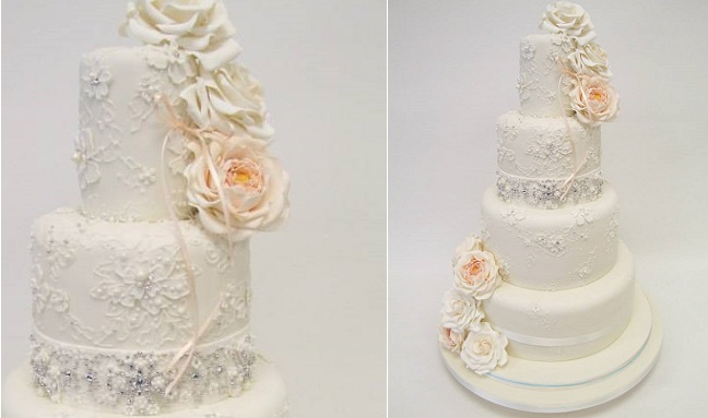 beaded wedding cake design pearl beading and silver beading by Emma Jayne Cake Design