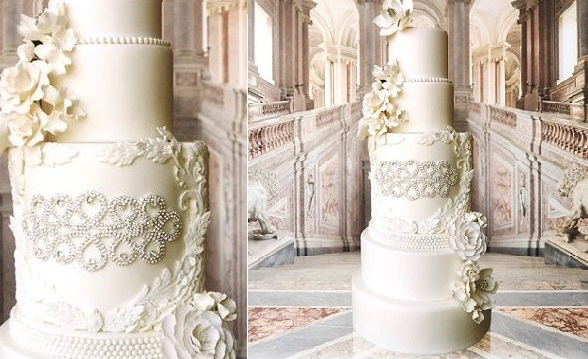 beaded wedding cake design silver beading jewelled wedding cake by Connie Cupcake Luxury Cakes
