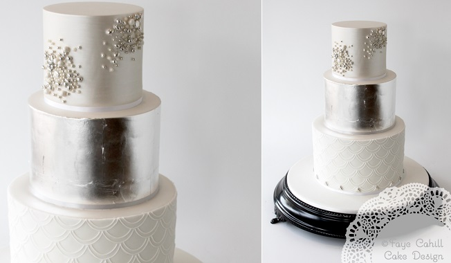 beaded-wedding-cake-design-with-silver-leaf-by-Faye-Cahill