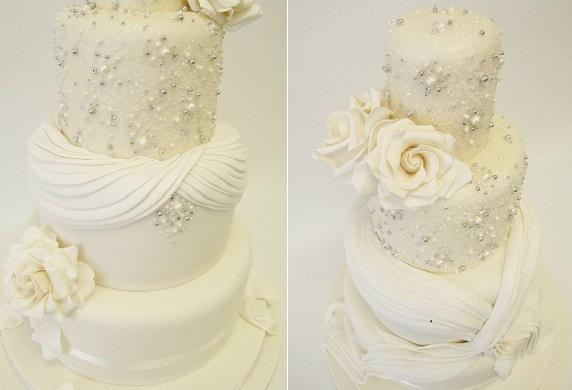 beaded wedding cake fabric effect by Emma Jayne Cake Design