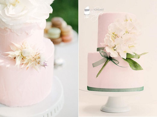 botanical style wedding cakes via Style Me Pretty, Izzy Rae Photography and sweet pea posy cake by The Fondant Flinger