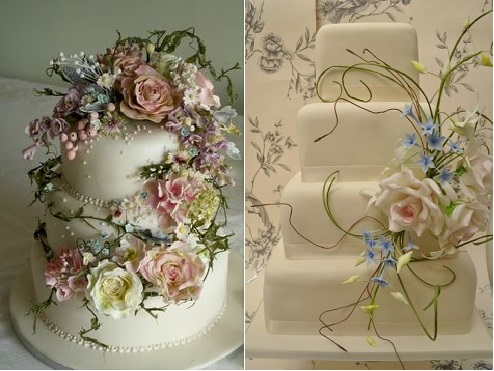 botanical wedding cakes by Amy Swann left and by Cake Magic UK right