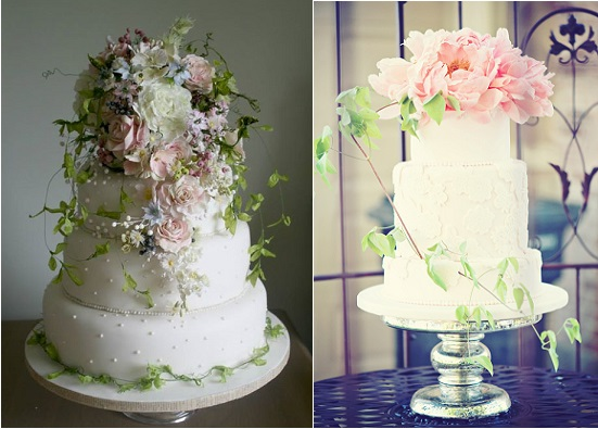 botanical wedding cakes by Amy Swann left and by The Graceful Baker via Peter Loves Jane right
