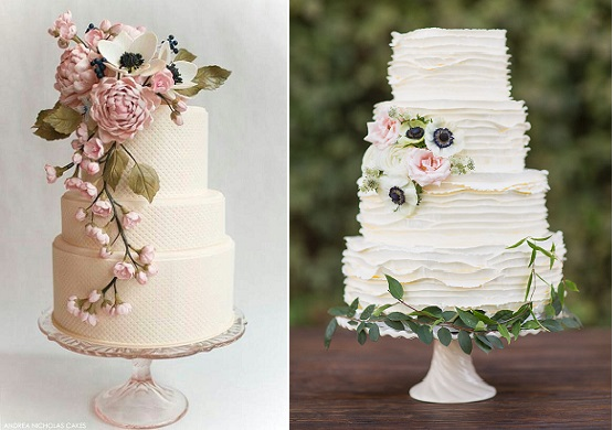 botanical wedding cakes by Andrea Nicholas Cakes left and by the Cakewalk Bake Shop left, Apryl Anne Photography via Green Wedding Shoes