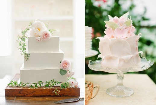 botanical wedding cakes via Ginny Branch Stylist, photo Jeremy Harwell left and by The Couture Cakery right
