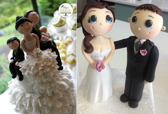 bride and groom cake toppers wedding cake toppers by Sugar Couture Cupcakes and Cakes left and via Pinterest right