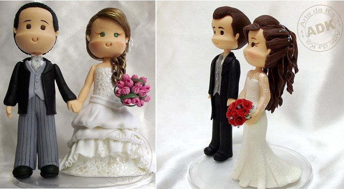 bride and groom toppers wedding cake toppers sugar models by Arte da Ka, Br