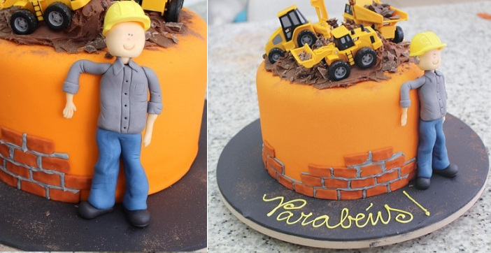 construction worker cake topper tutorial sugar model via cakedesign. .br