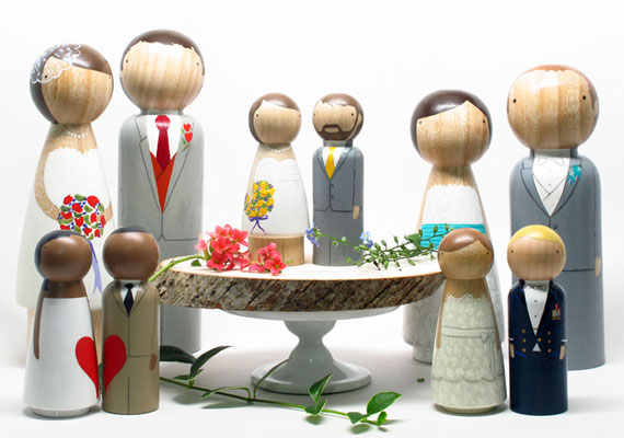 diy bride and groom cake topper tutorial wooden peg dolls by Goose Grease on Etsy