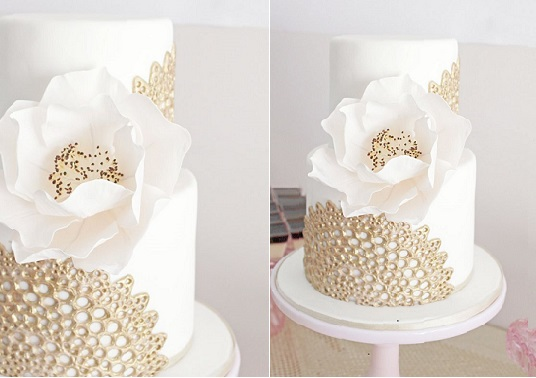 doile lace cake gold and white by Sweet Bloom Cakes