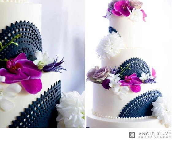 doile lace wedding cake black lace and orchid by The Fabulous Cake Girls, San Diego, Angie Silvy Photography