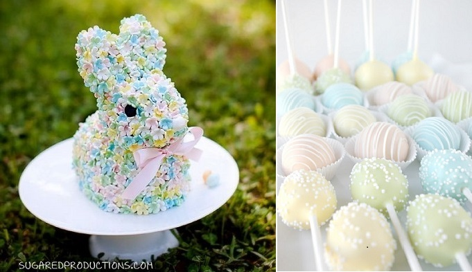 easter bunny cake by Sugar Ed Productions and pastel cake pops via Pinterest