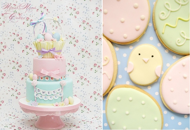 easter cake by Nana & Nana Cakes left and easter egg cookies by Hello Naomi right