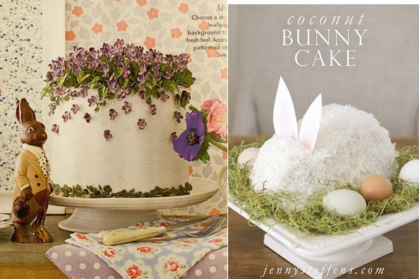 easter cake with sugar violet flowers by Amy Swann for Country Homes and Interiors UK and coconut bunny cake by Jenny Steffens