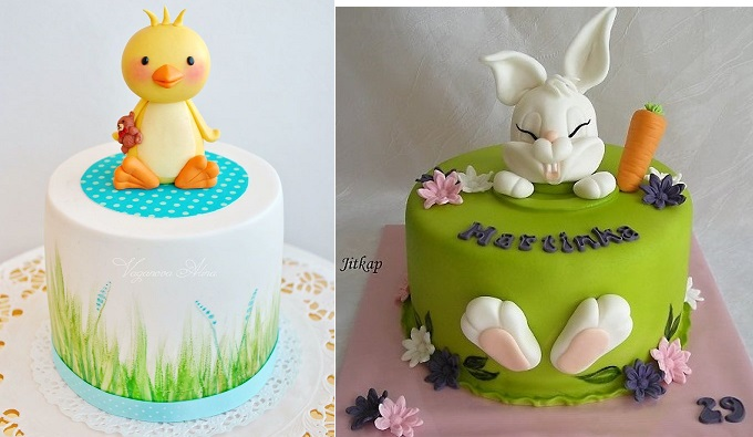 easter cakes by Vaganova Alina left and by Jitkap via Cake Central right