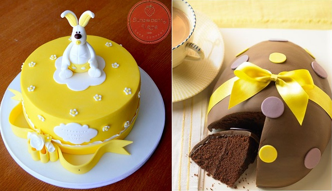 easter cakes from Strawberry Lane Cakes UK left and chocolate easter egg cake via ifood.tv right