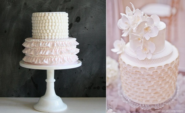 fabric effect cake by Sweet Bloom Cakes left and smocking effect wedding cake by Connie Cupcake Luxury Cakes, image by Krista Fox