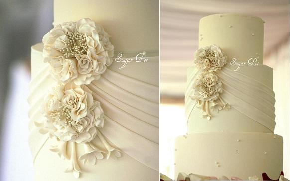 fabric effect wedding cake by Sugar Pot