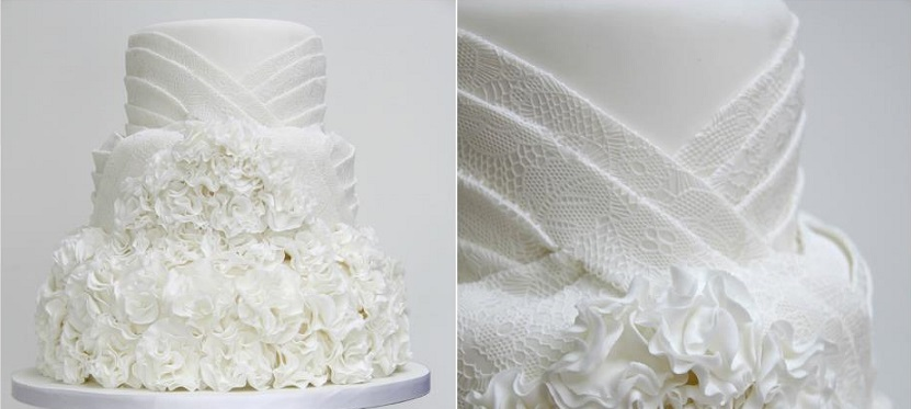 fabric effect wedding cake design