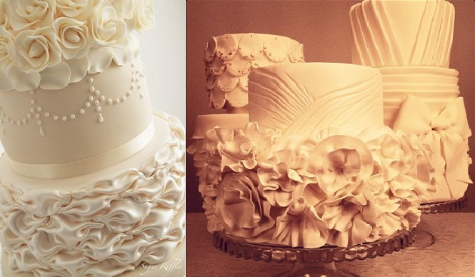 fabric effect wedding cakes by Sugar Ruffles UK left and by Style Sweet CA right
