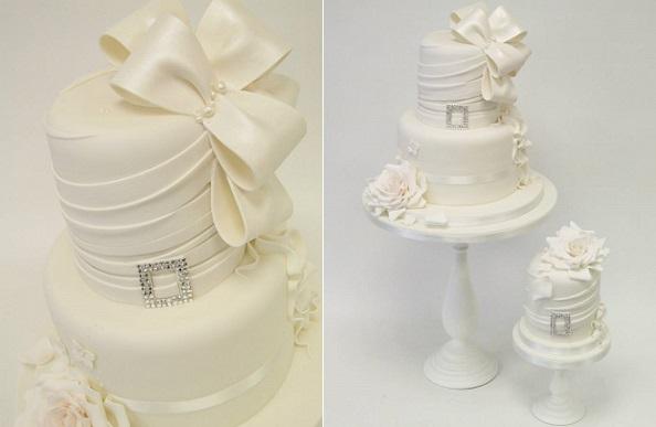 fabric effects wedding cake by Emma Jayne Cake Design