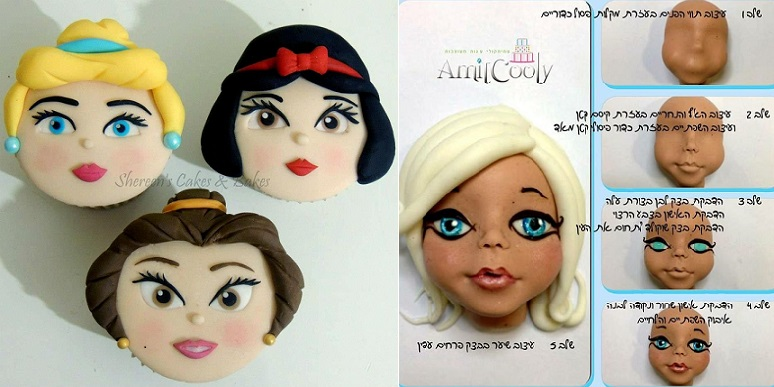 face modelling tutorial cupcake faces by Shereen's Cakes and Bakes left and cake topper face tutorial via Pinterest