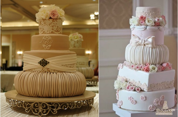 fondant ruching effect with cakes by Mercedes Strachwsky left and by Delectable by Su right
