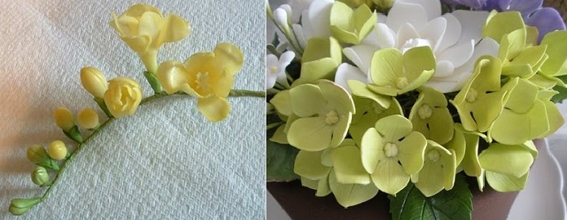 freesia tutorial sugar flower tutorial by Dusky Rose Veiners UK left and hydrangea tutorial by PetalSweet right