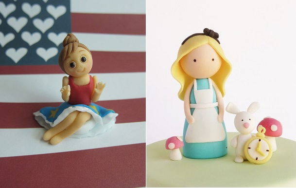 girl cake topper tutorial by Mimicafe NY left and simple cake topper idea by Peace of Cake Design right