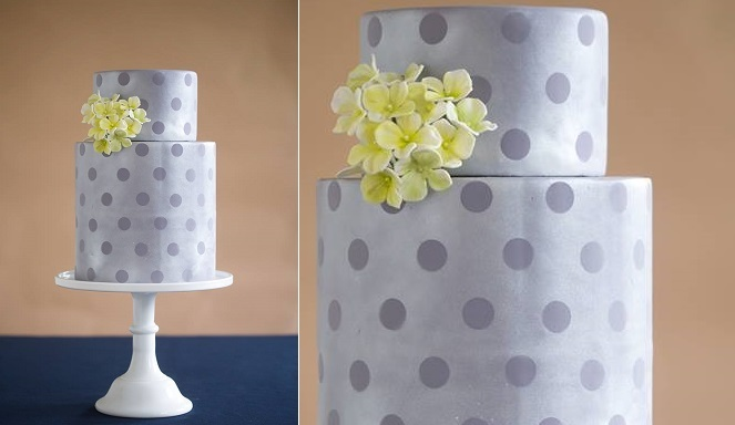 grey and lemon polka dot wedding cake by The Wild Orchid Baking Co., Mark Davidson Photography