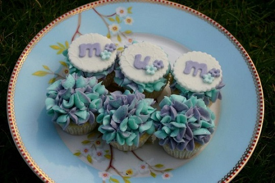 mothers day cupcakes blue hydrangea piping by The Little Cupcakery, Northern Ireland