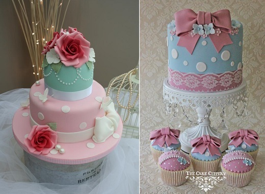 pastel polka dot birthday cakes by Katie's Cakes left and by The Cake Cuppery right