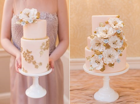 peach and gold wedding caks by elegantly iced via style me pretty