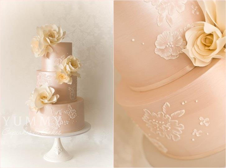 peach wedding cake by Yummy Cupcakes and Cakes, Sydney