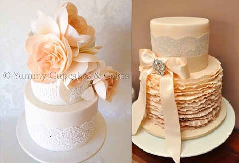 peach wedding cake with lace by Yummy Cupcakes and Cakes left and Cakes and Biscuits by Lisa AU right