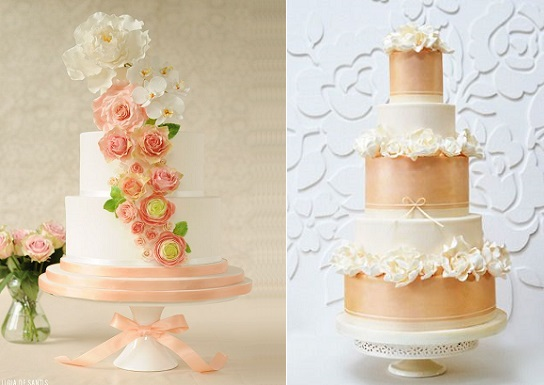 peach wedding cakes by Ligia De Santis left and by Rosalind Miller right