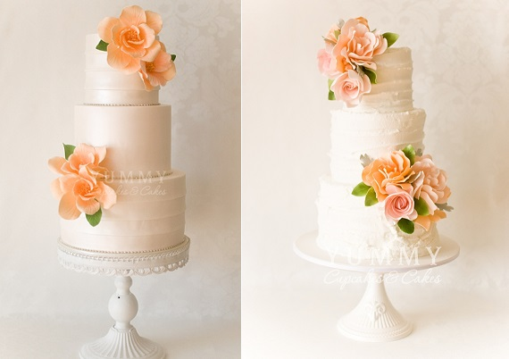 peach wedding cakes by Yummy Cupcakes and Cakes, Sydney