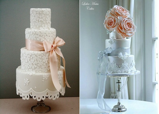peach wedding cakes with lace by Cotton and Crumbs left and by Leslea Matsis right