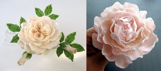 peony rose tutorial right and Queen of Denmark rose tutorial left from TortenTante