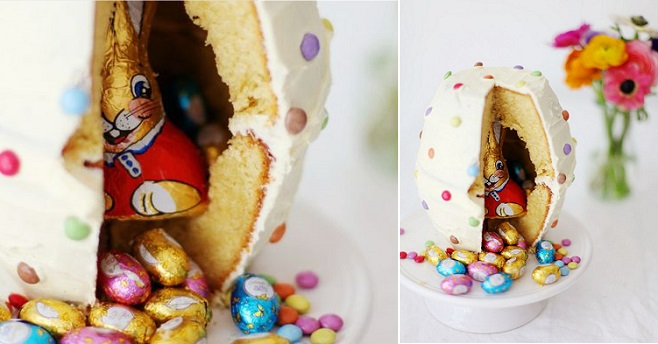 pinata cake with easter bunny inside from zuckerzimtundliebe.wordpress com