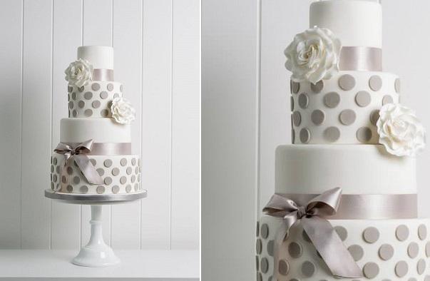 polka dot wedding cake grey and white by Poppy Pickering