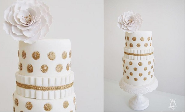 polka dot wedding cake white and gold by Connie Cupcake Luxury Cakes