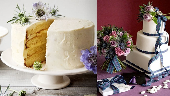 scottish thistle and tartan cake by Peggy Porschen left and cake right via Jamie Oliver Magazine