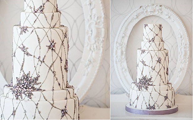 silver beaded wedding cake by Bobbette and Belle, Jenny Packham inspired cake, Krista Fox Photography