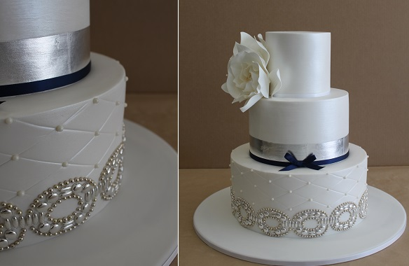 silver beaded wedding cake by Faye Cahill Cake Design