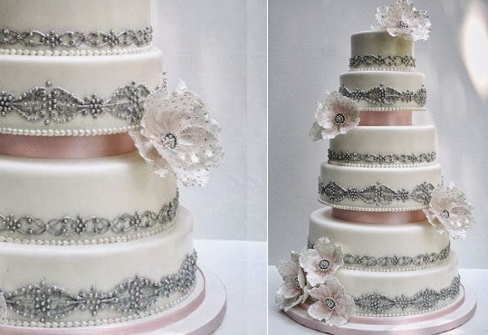silver beaded wedding cake vintage cake design