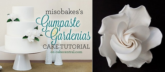 sugar flower tutorial gardenia tutorial by Miso Bakes via Cake Central