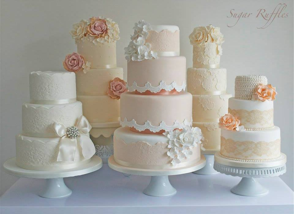 Vintage Lace Wedding Cake In Peach Cream White And Ivory By Sugar Ruffles UK